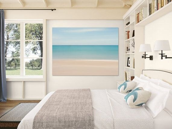 Best Beach Decor Canvas Gallery Wrap Abstract Ocean Photo Large This Month