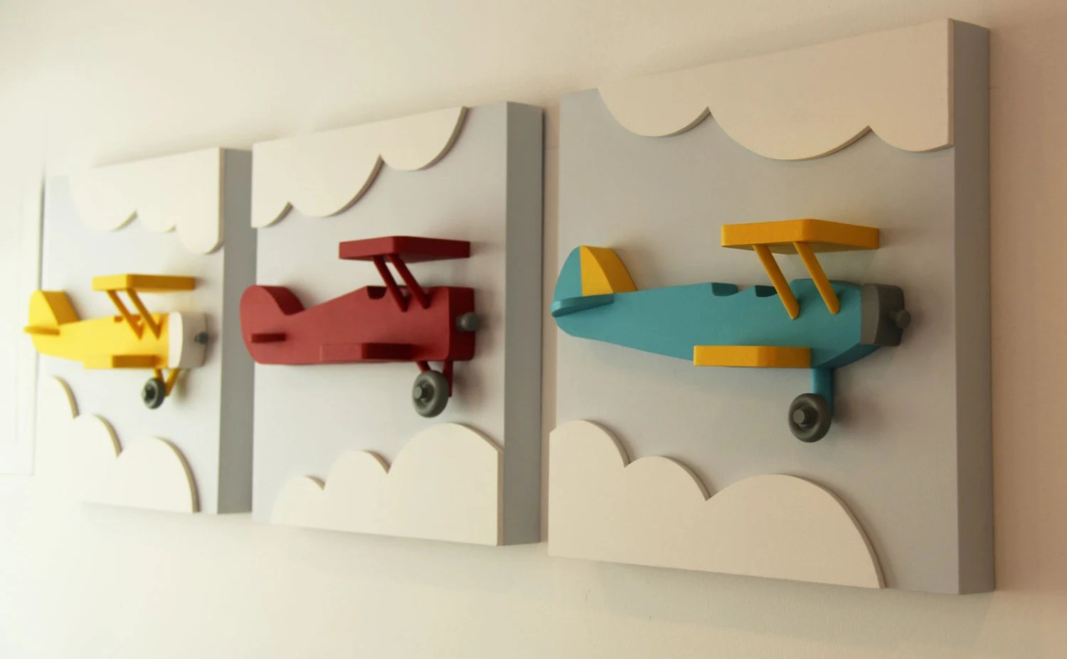 Best Set Of 3 Airplane Wood Wall Art 3D Airplane Nursery By This Month