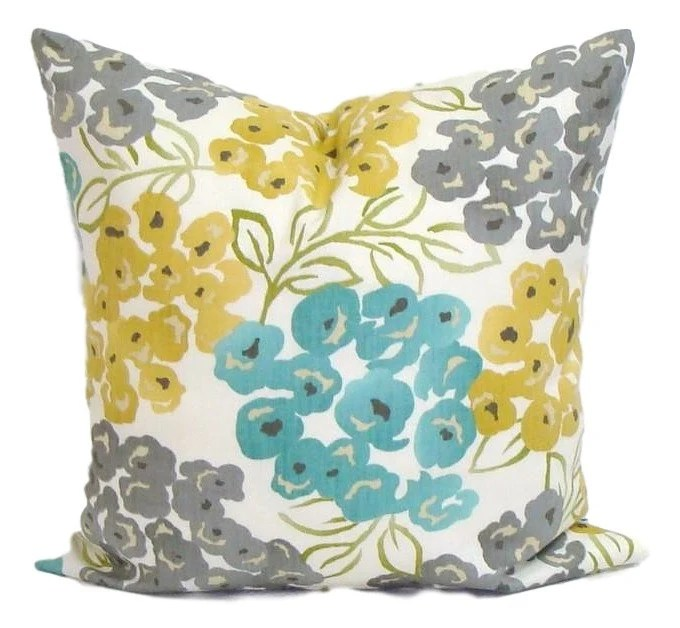 Best Teal Yellow Pillow Cover Gray Pillow Pillow Floral Pillow This Month