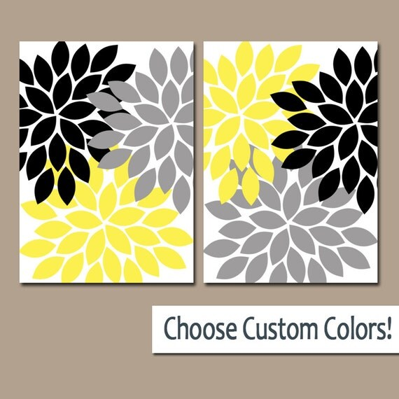 Best Yellow Black Gray Wall Art Canvas Or Prints Bathroom Artwork This Month