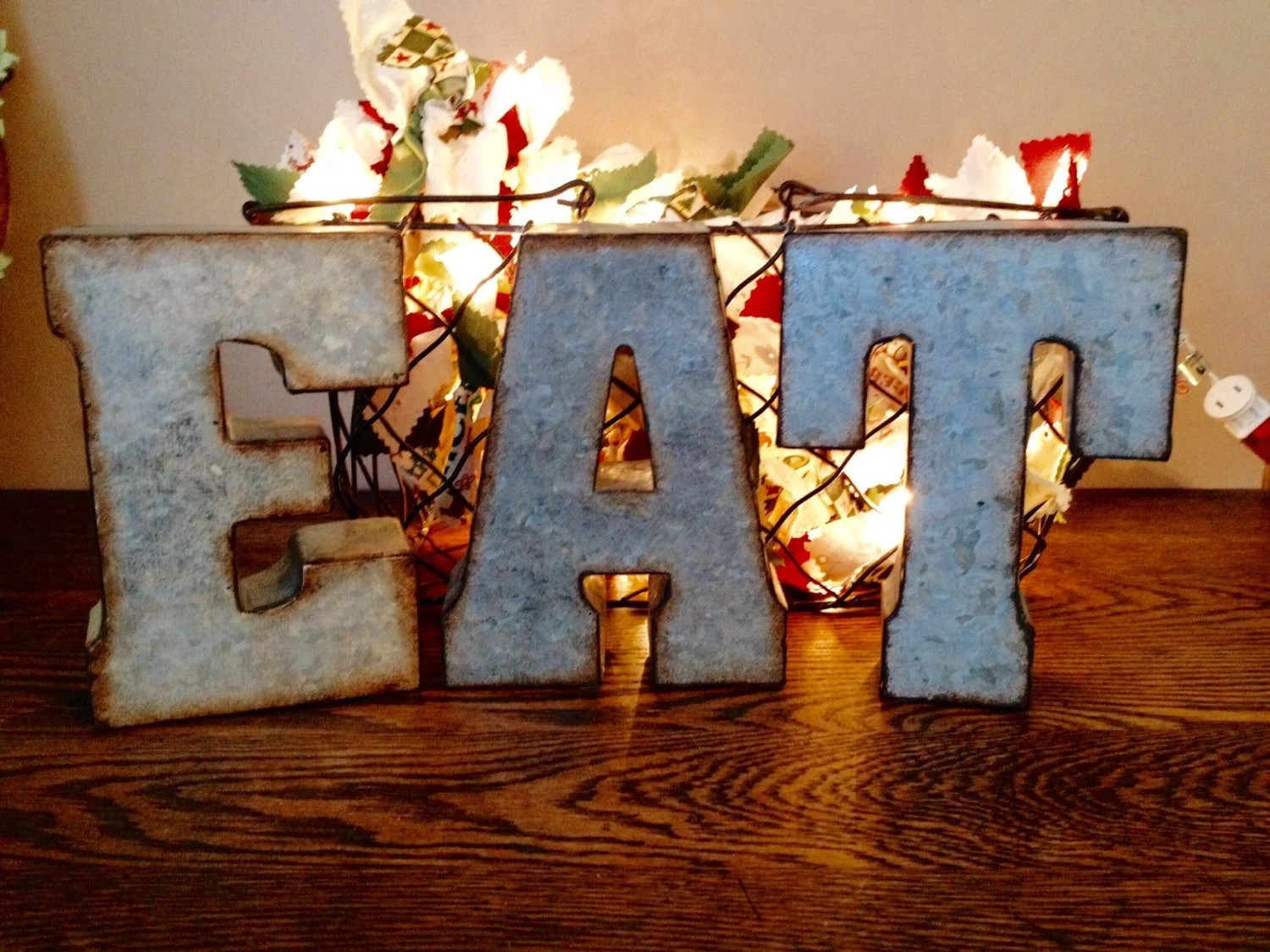 Best Large Galvanized Metal Eat Letters 3D Hanging Kitchen Wall This Month