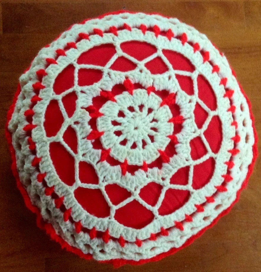 Best Vintage Crochet Red White Round Decorative Throw Pillow This Month