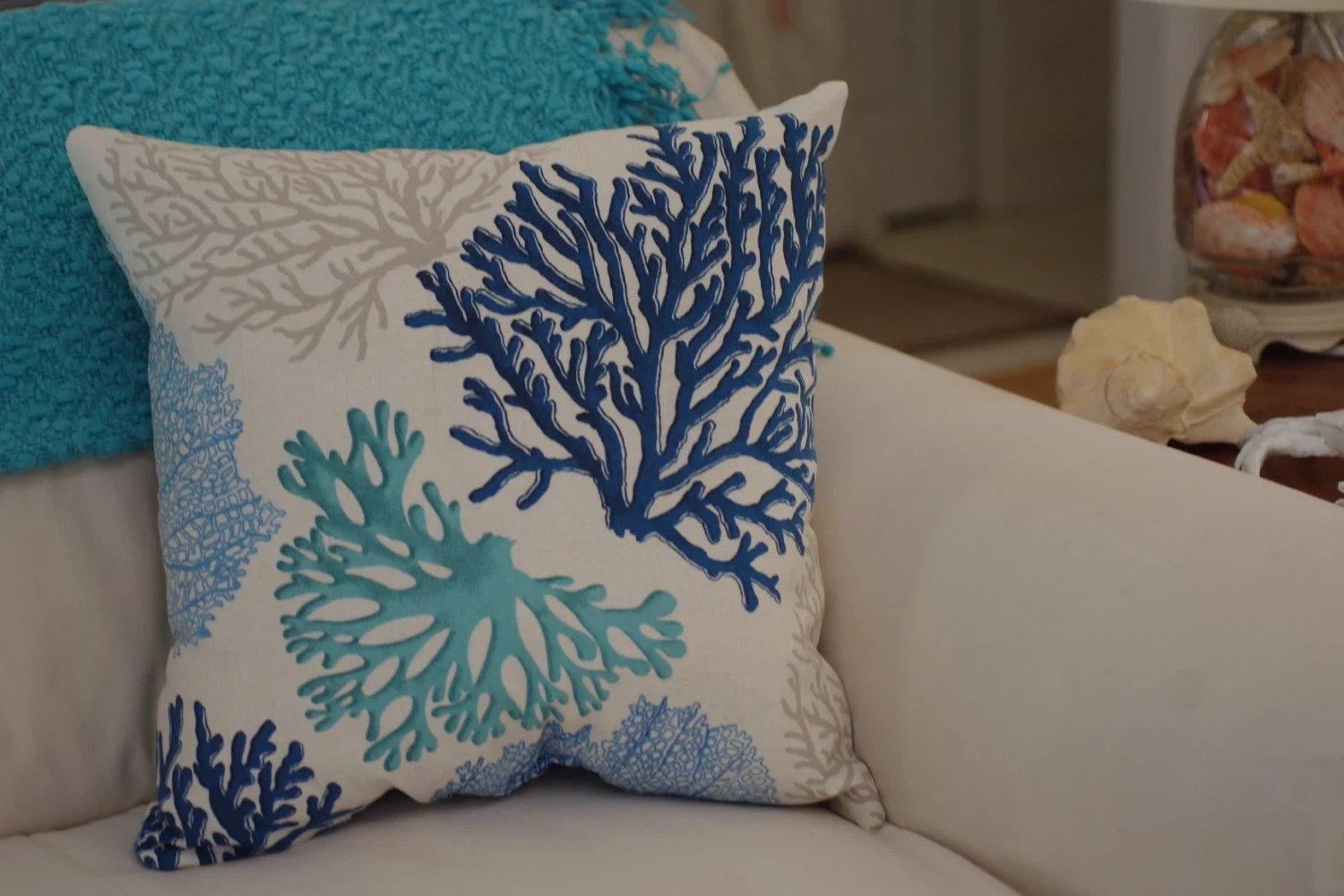 Best Beach Decor Sea Fan Throw Pillow Coastal By Bytheseashoredecor This Month