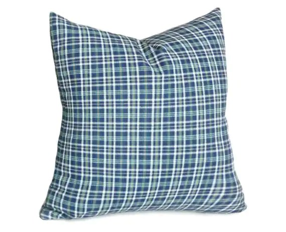 Best Preppy Blue Green Plaid Pillow Boys Plaid Throw Pillow This Month