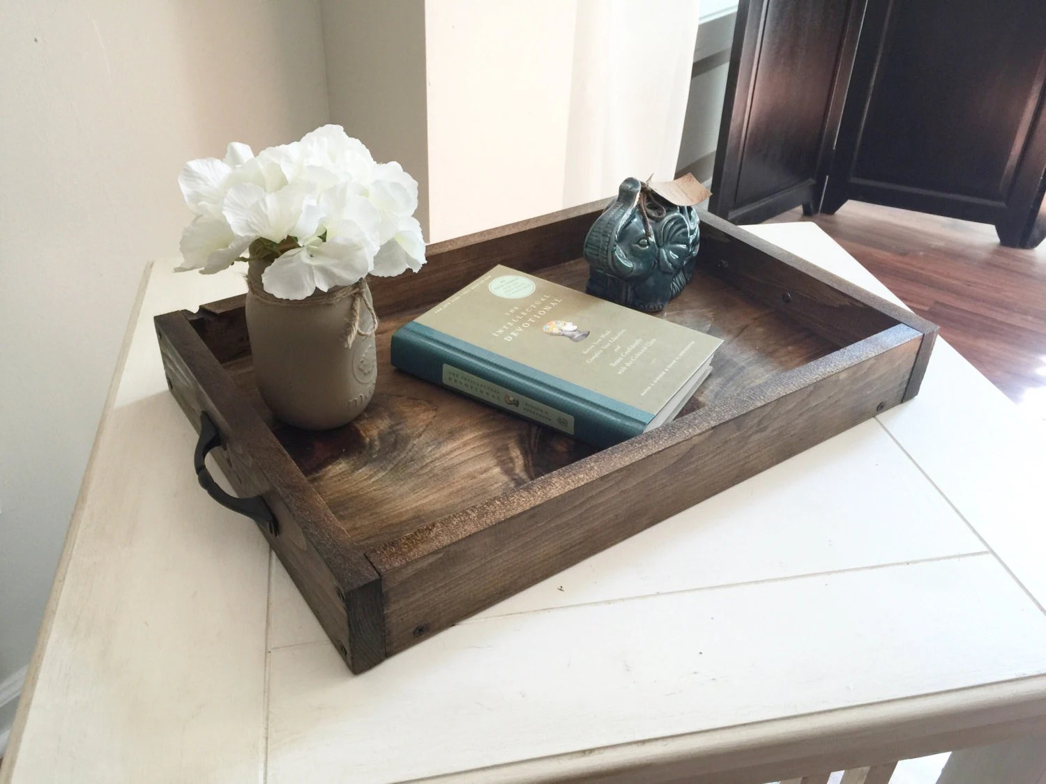 Best Rustic Wooden Ottoman Tray Decorative Tray Coffee Table This Month