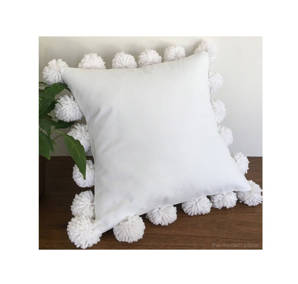 Best White Pom Pom Decorative Throw Pillow Cushion Cotton This Month