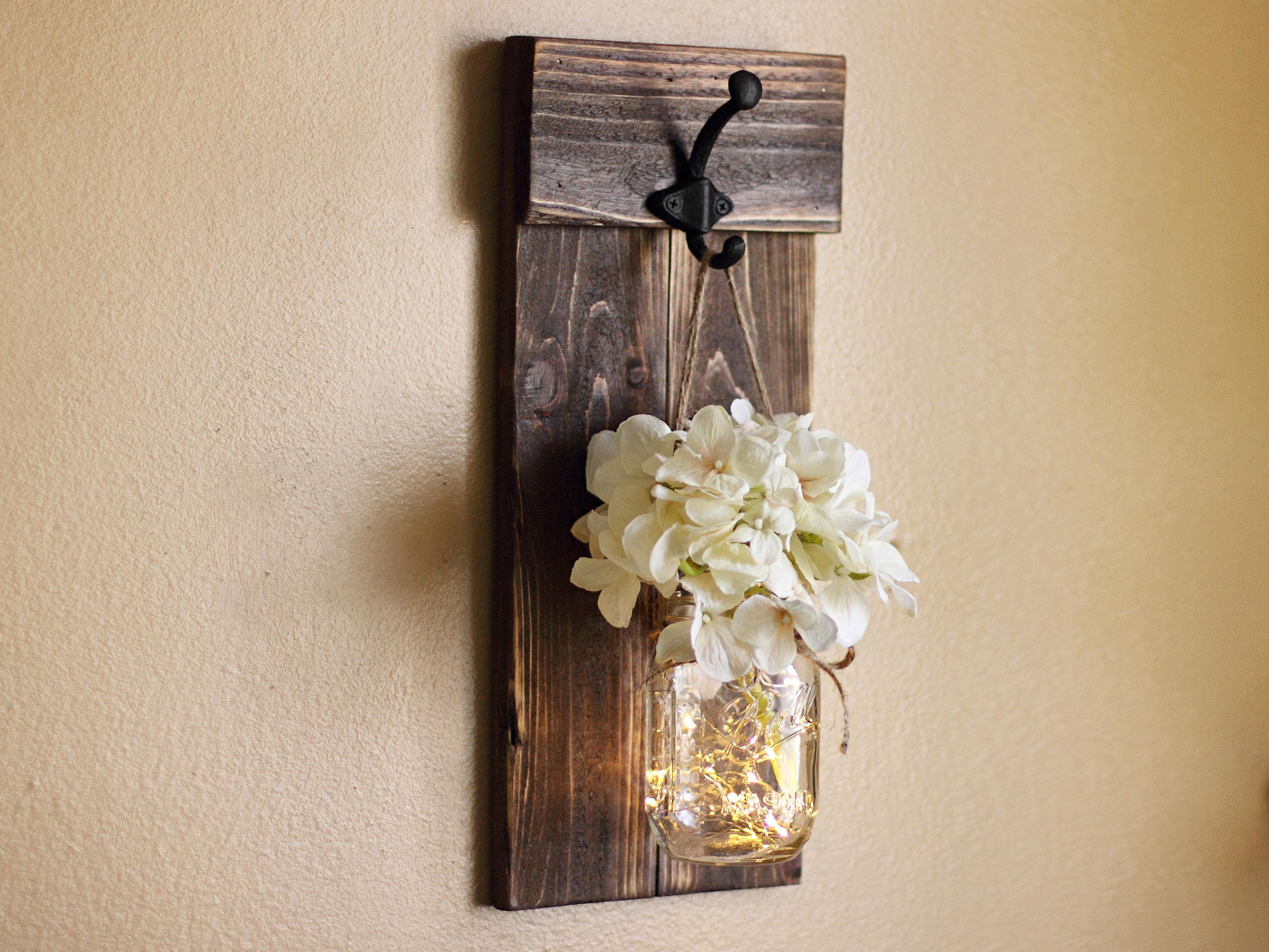 Best Rustic Wall Decor Mason Jar Wall Sconce Lighted Sconce Wall This Month