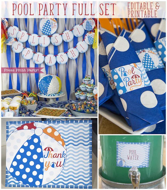 Best Pool Party Decorations Pool Party Birthday Decor Swimming This Month
