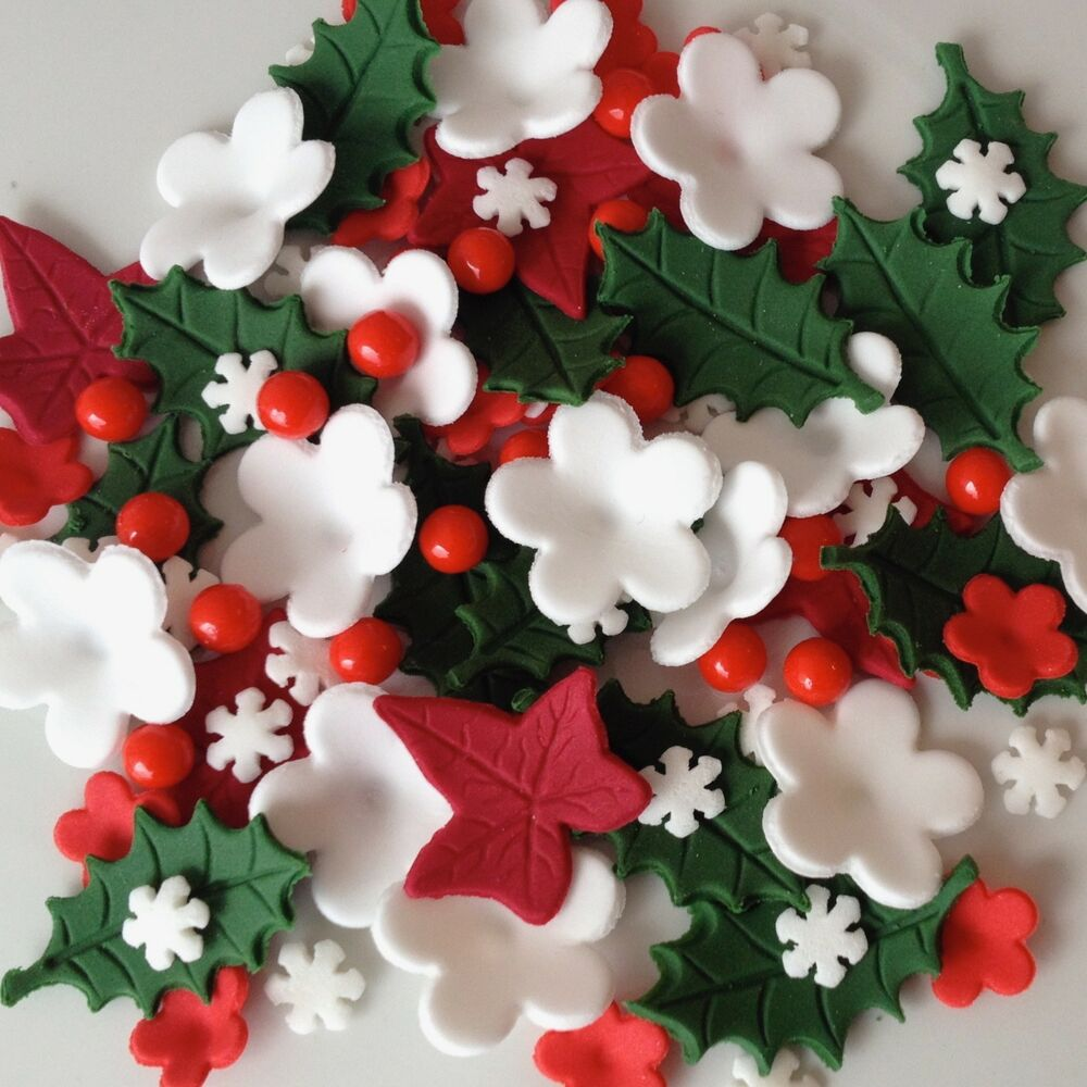 Best Christmas Cake Toppers Edible Sugar Paste Flowers Cup Cake This Month