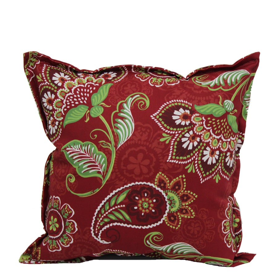 Best Garden Treasures Paisley Red Outdoor Decorative Pillow At This Month