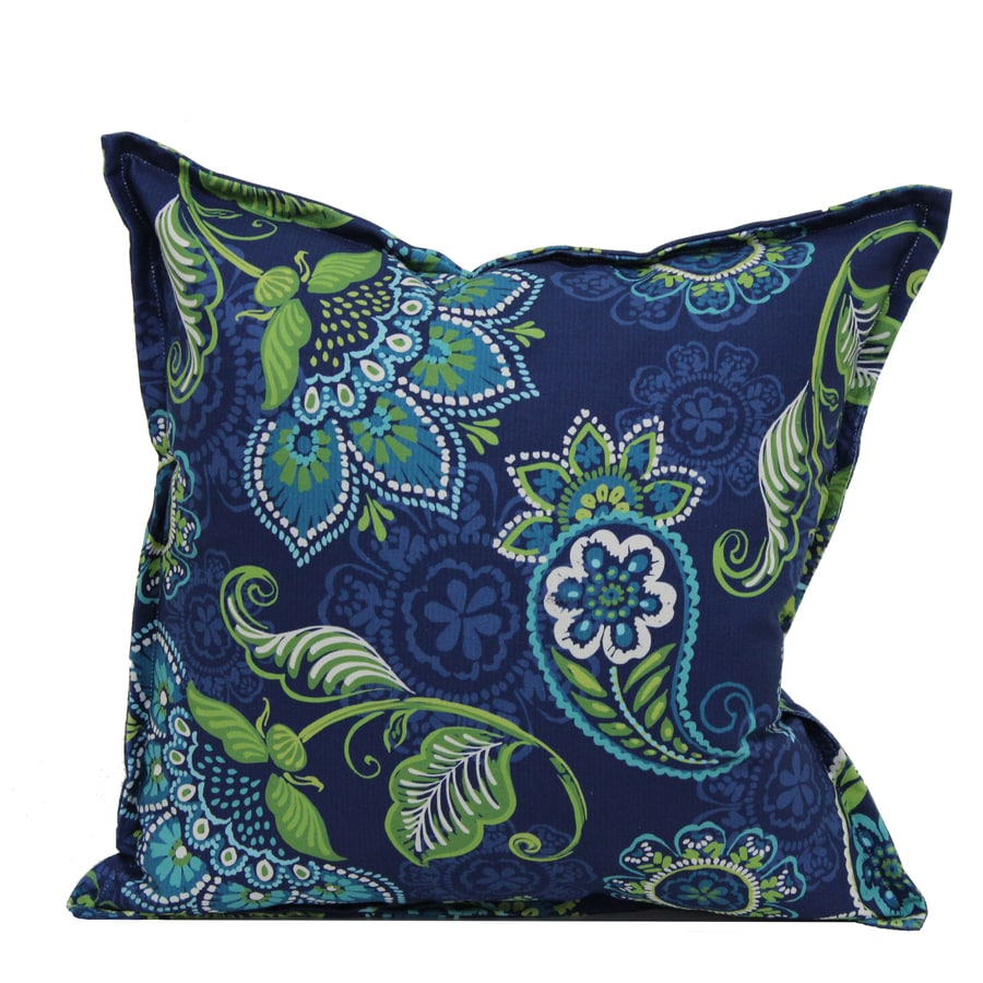 Best Garden Treasures Paisley Blue Outdoor Decorative Pillow At This Month