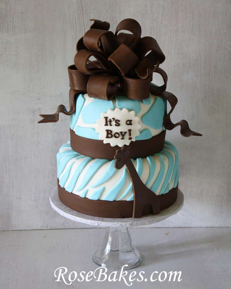 Best Brown Blue Zoo Animals Baby Shower Cake This Month