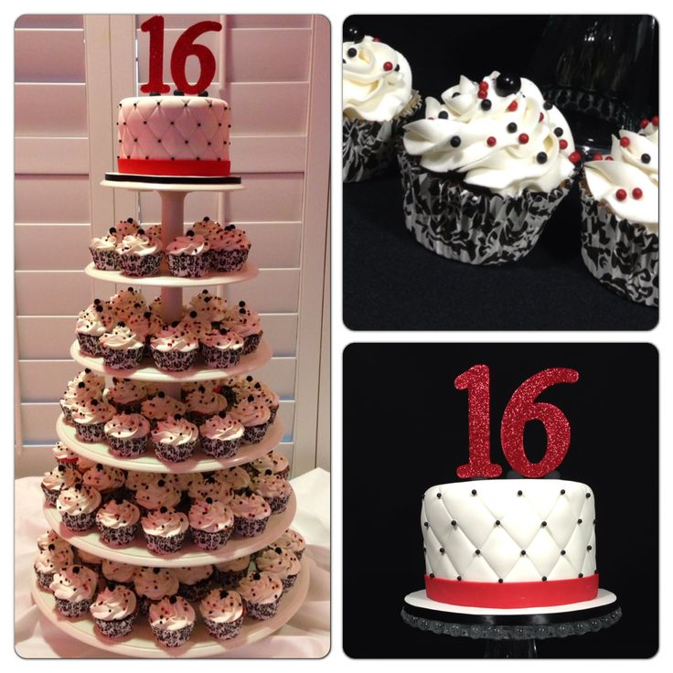 Best Red And Black Cupcake Tower For A Surprise Sweet 16 This Month