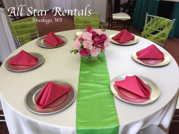 Best Hot Pink Napkins Lime Green Runner And Ivory Linen This Month