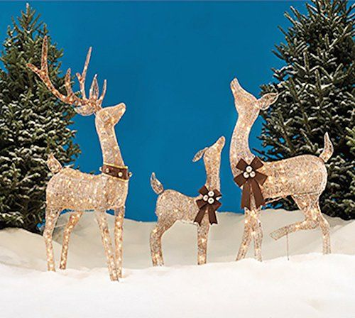 Best Christmas Reindeer Family 3 Piece Set Includes Glittering This Month