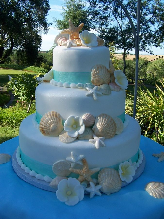 Best Beach Theme Wedding Cake — Seashells Ocean Beach Sandi Pinterest Beach Themes This Month