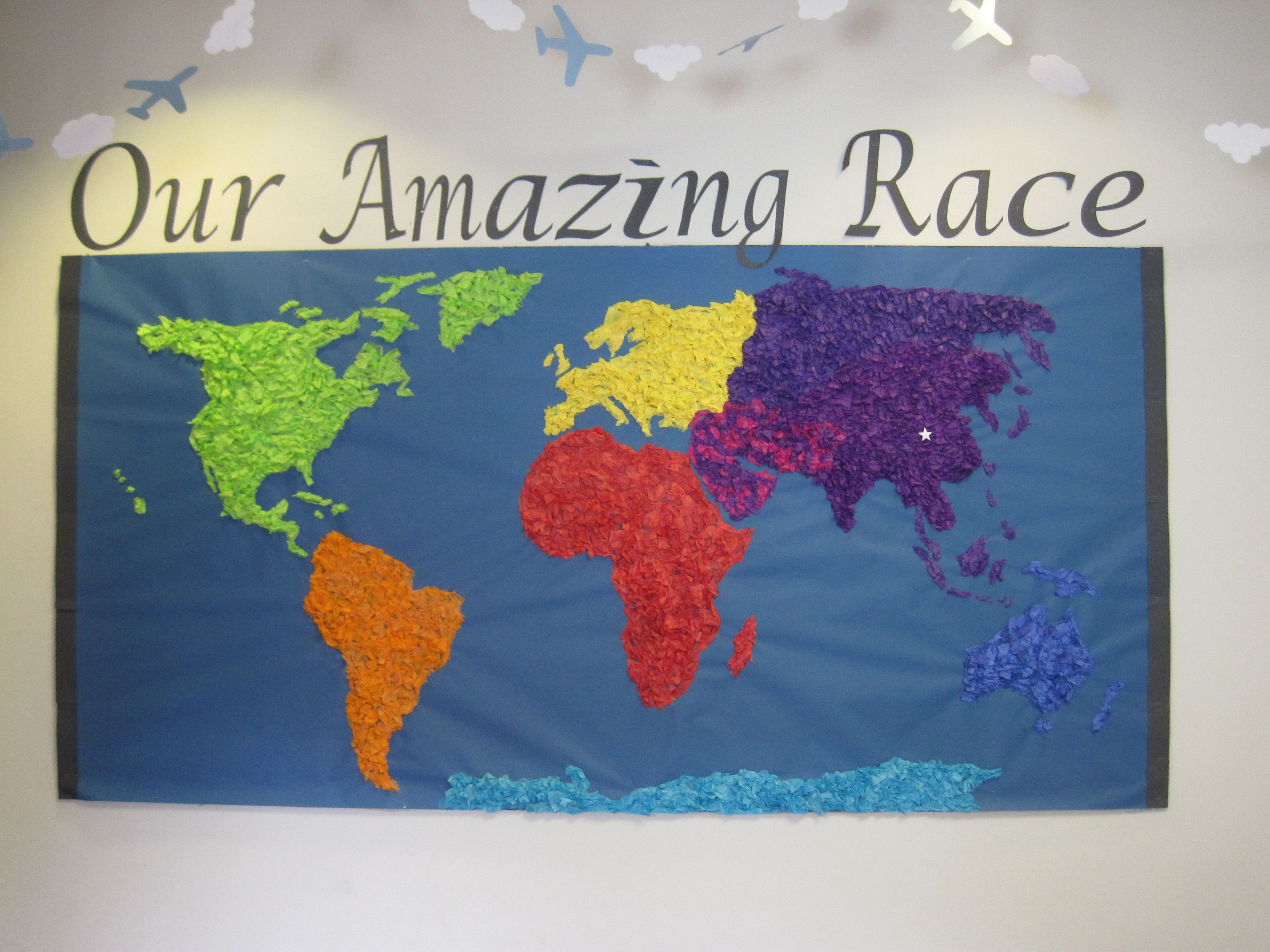 Best Camp Amazing Race Bulletin Board Idea Made From Tissue This Month