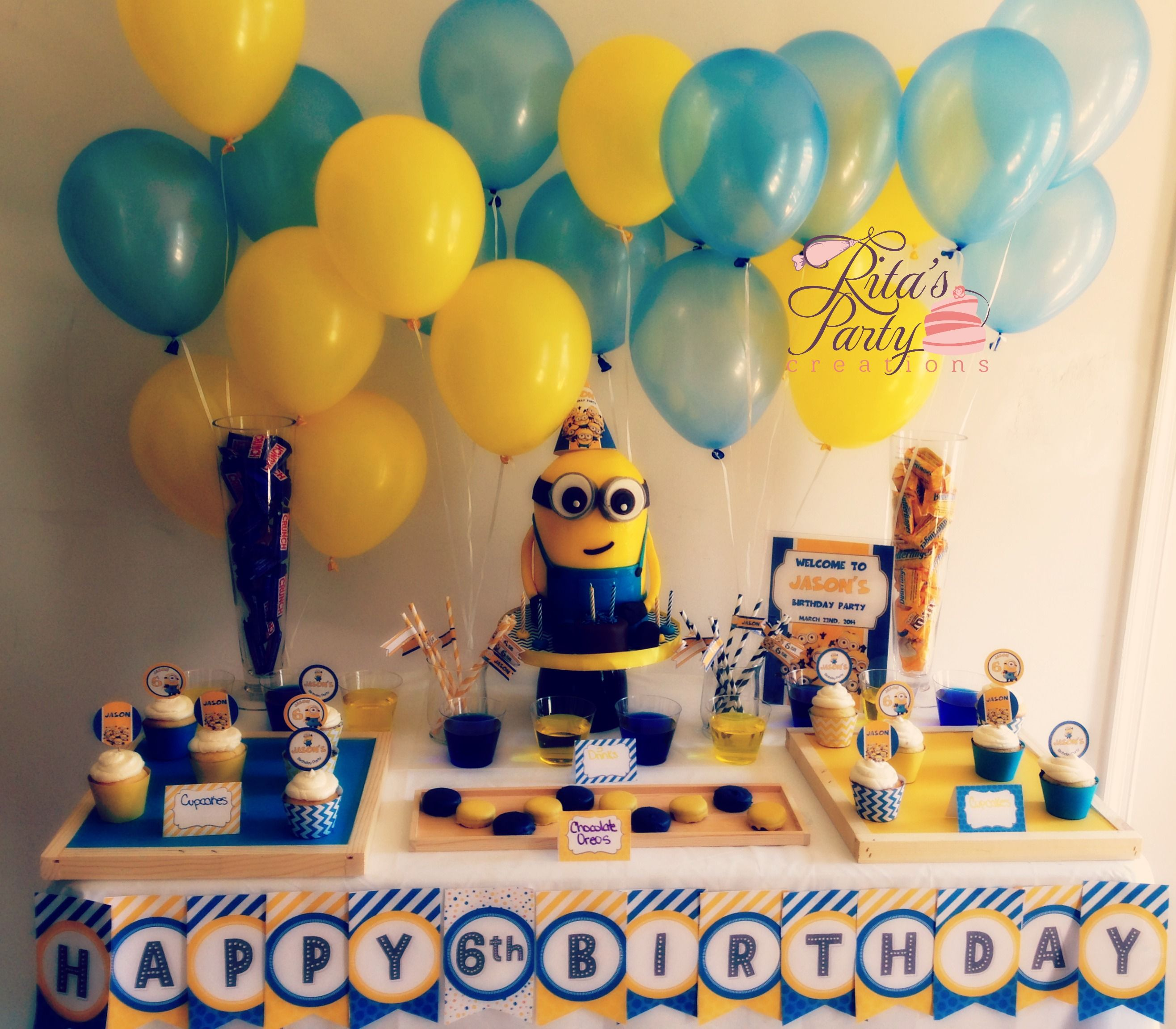 Best Despicable Me Party Table For A 6 Year Old Boy Birthday This Month