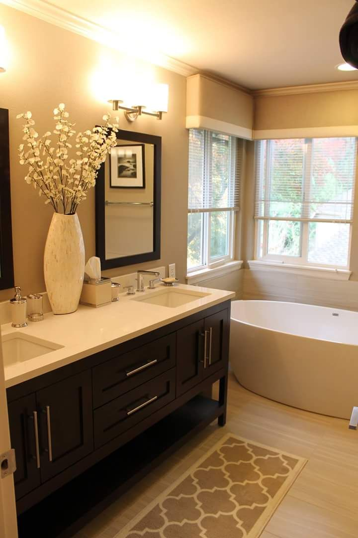 Best Warm Toned Bathroom With Furniture Style Vanity Visit This Month