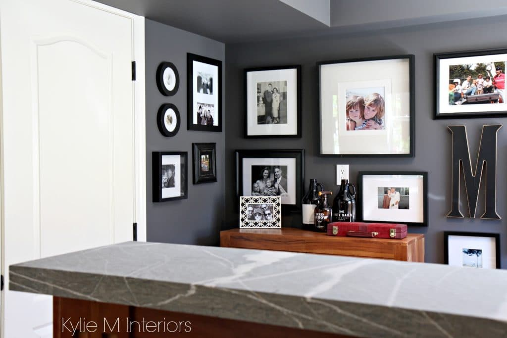 Best Benjamin Moore Gray In Home Bar Area With Natural Stone This Month