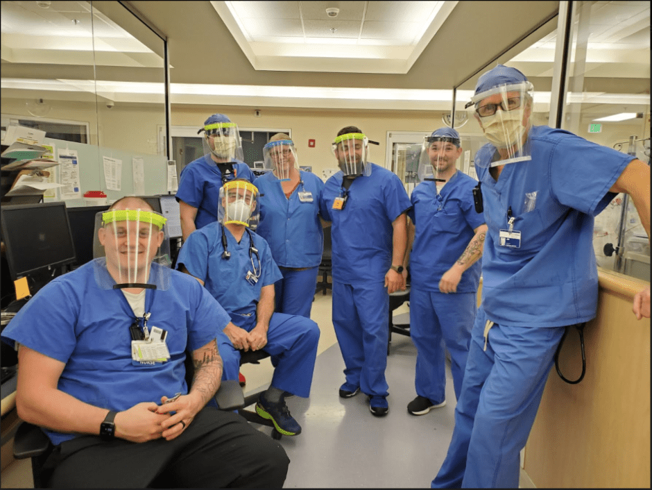 Doctors and nurses at Willamette Falls Medical Center with their 3D printed face shields.