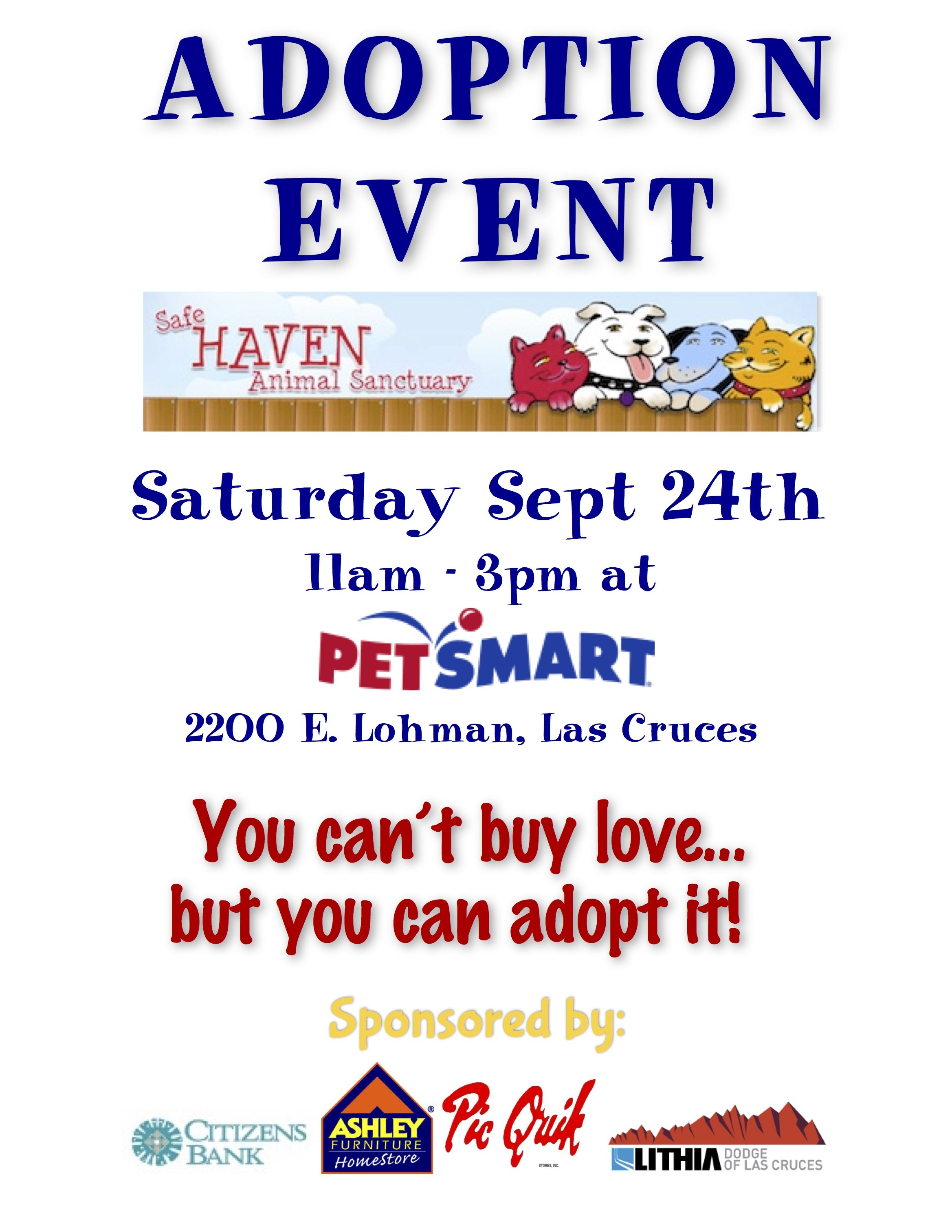 Adoption Event at PetSmart Safe Haven Animal Sanctuary