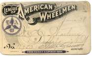 An example of a turn-of-the-century League of American Wheelmen membership card.