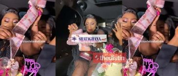 Ellen White Pulls Out Ghc200 Notes From Her Birthday Cake As She Cruises Around Town In A Limousine | Watch Videos