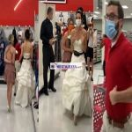 A woman shows up to fiance's workplace in a wedding dress and demands to be married in a viral video.