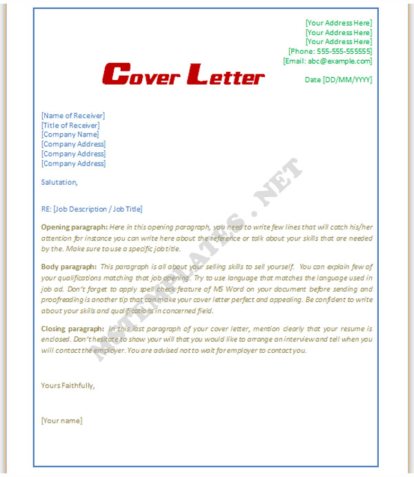 Cover Letter Template Word Doc  shatterlioninfo