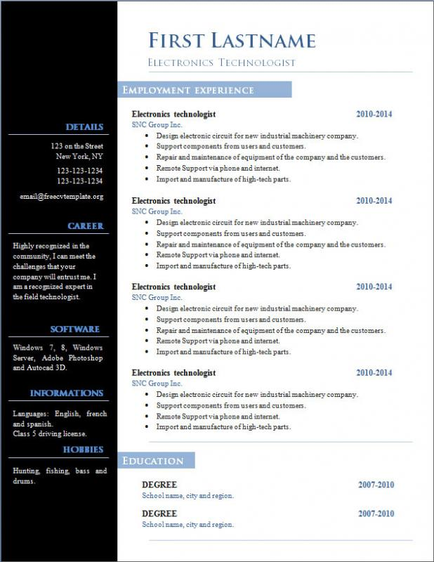 example resume format word file free download