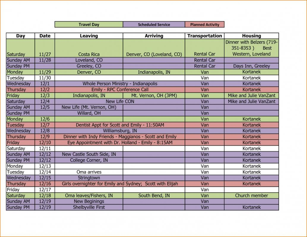 Itinerary Template Excel