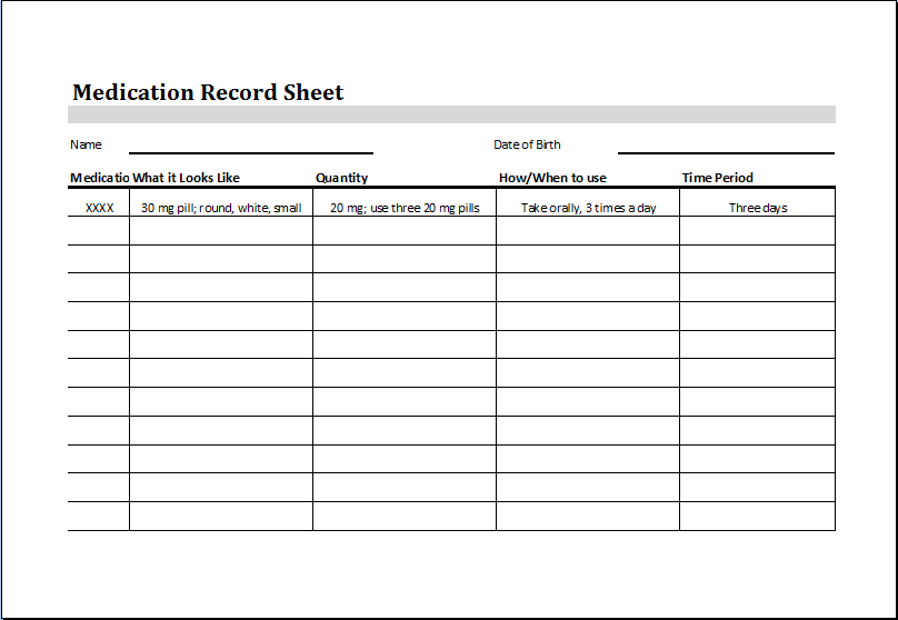 Medication Administration Record Template Shatterlioninfo
