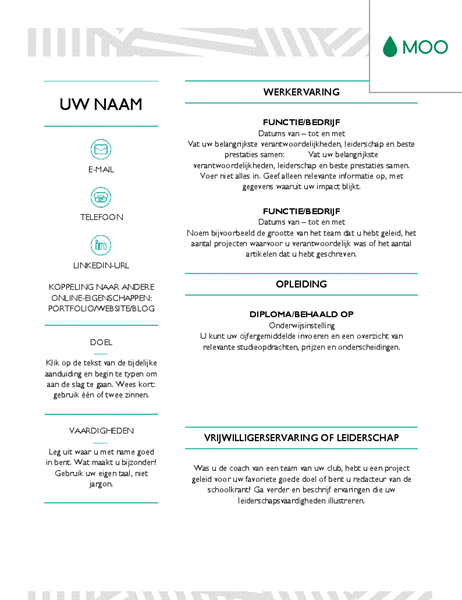 how to edit moo resume template