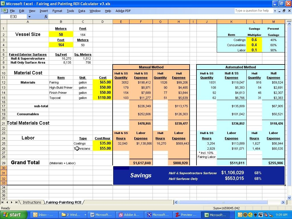 excel roi template
