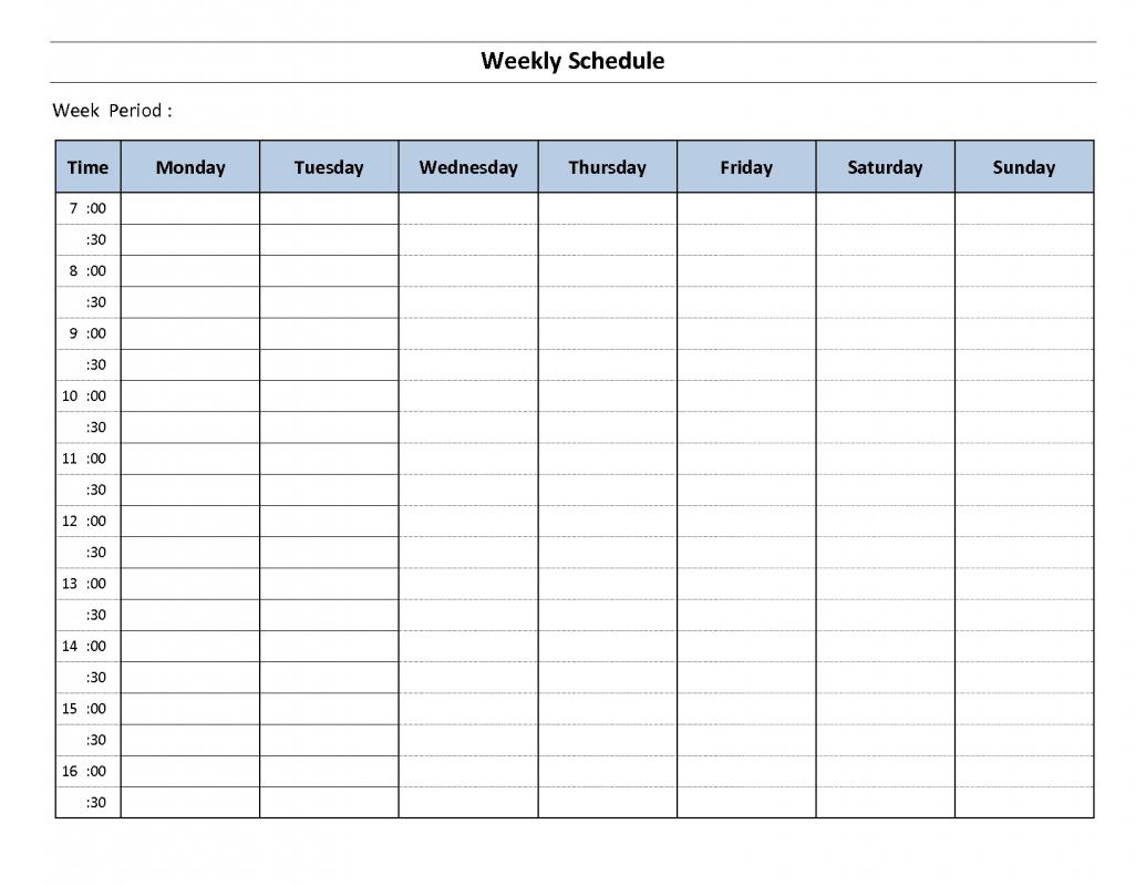 Hourly Schedule Worksheet