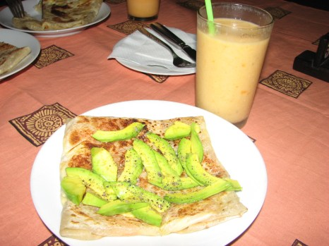 Rotis are stuffed with just about anything here. This night I had a tomato, avacodo and cheese roti and a mango lassi. A lassi is the Indian equivalent to a milk shake.
