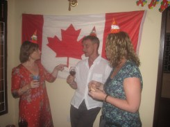 Celebrating a birthday Canadian style ; We passed around the gifts and cards for everyone to see (the others found this weird).