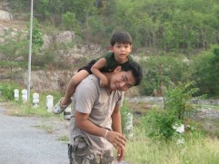 Tong and his 4-year-old son NJ.