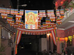 Walking around at night, most neighbourhoods look like this - Buddhist flags and lanterns-a-plenty.