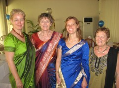 The volunteer ladies posing in their new saris. Because the ceremony was on a Wednesday morning (you can't mess with the auspicious time), Trina had to work, so her three saris still sit in our closet.