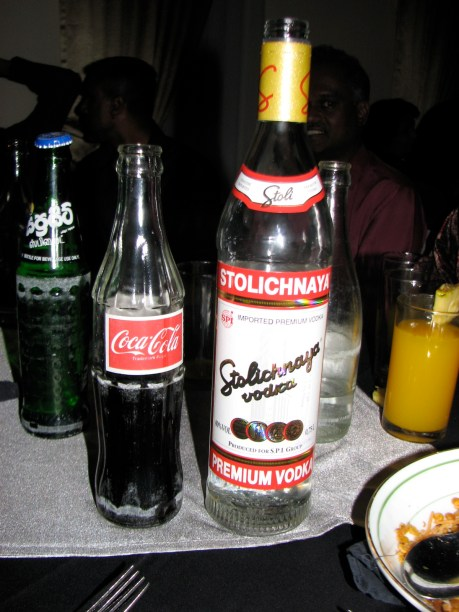 The socialists know how to booze. Nothing but Stoli vodka and coke - and the coke was certainly optional.