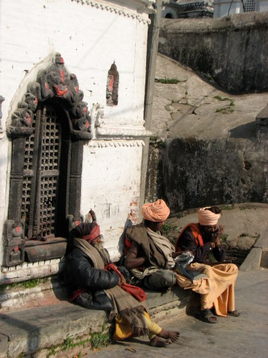 These Nepali Gurus hang out at the temple all day and chat about things that gurus chat about - global warming, nuclear energy and how Kim Kardashian is still relevant.