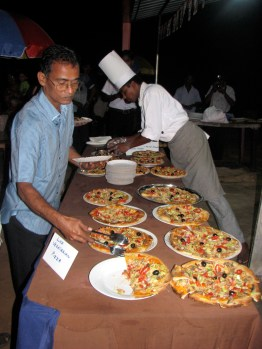 Here is the buffet of pizzas.
