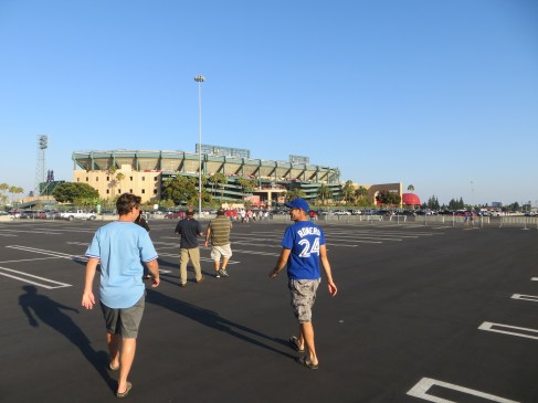 """Schneidz and I walk to Angels Stadium where someone asked us - """"Who are the Blue Yays?"""""""