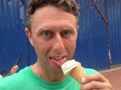 Shaun enjoys the durian ice cream with his creepy snake tongue.