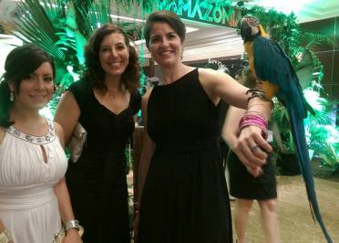 We're all dolled up for the Latin ball so why not get your picture with a parrot before getting our groove on?.(a python was also available)
