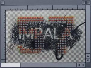 """Impala 57"" Acrylic and Charcoal on Card and Panel, AV"