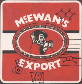 """McEwan's Export"""" Gouache on archival paper on card. Dimensions 18,5cm x 18.5cm, AV."""
