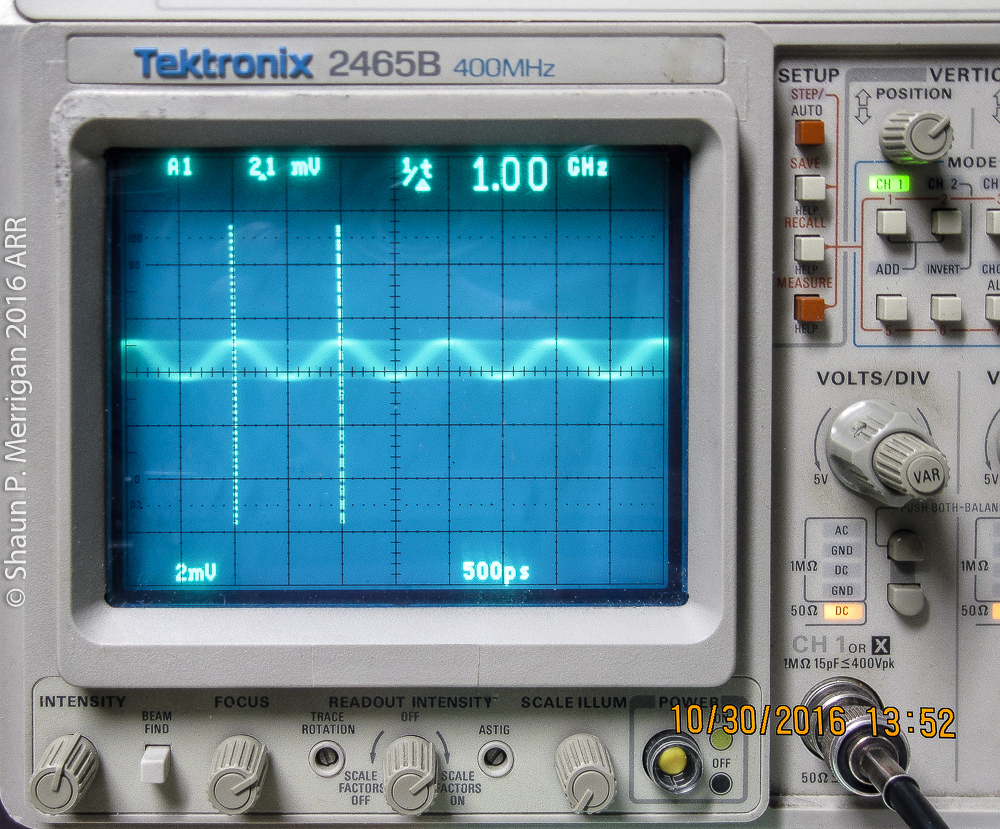 1 GHZ Sine wave input on a Tektronix 2465b